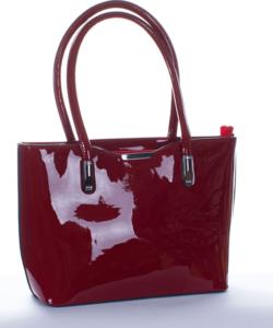 Bordópiros fém díszes köves női lakk táska
