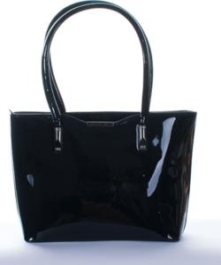 Fekete  fém díszes köves női lakk táska