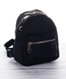 Női vászon hatású mini hátizsák fekete