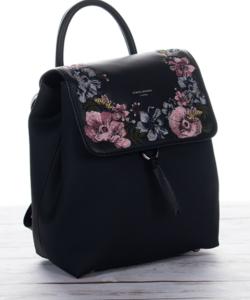 David Jones fekete hátizsák virágos hímzett