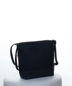 Silvia Rosa fekete hímzett csipke mintás női táska