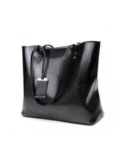 Miss Lulu fekete oil-wax bőr női táska