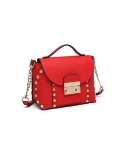 Miss Lulu piros divatos női táska lánc pánttal