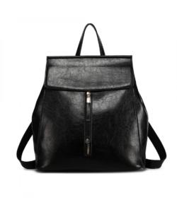 Miss Lulu fekete oil-wax vintage női hátizsák