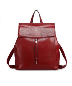 Miss Lulu piros oil-wax vintage női hátizsák