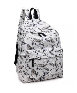Miss Lulu szürke madár mintás hátizsák, iskolatáska