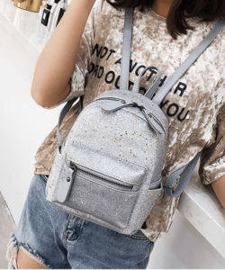 Szürke csillogó női divat hátizsák