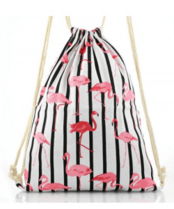 Flamingós női divatos tornazsák fehér