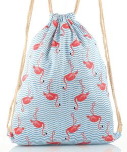 Flamingós kék női divatos tornazsák