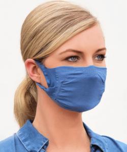 Cserélhető szűrős textil maszk FFP2 betéthez, 2 rétegű, mosható farmerkék