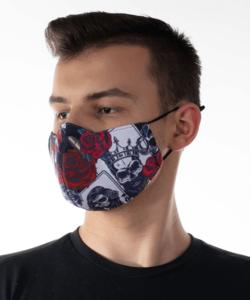 Textil arcmaszk felnőtt fekete király koponyás