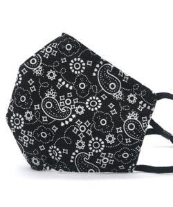 Textil szájmaszk felnőtt fekete apró virágos