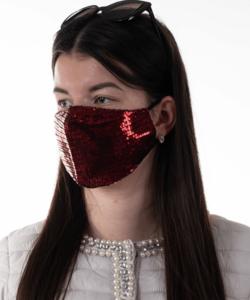Textil szájmaszk felnőtt piros flitter
