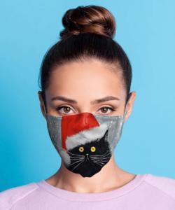Textil szájmaszk felnőtt karácsony cicás