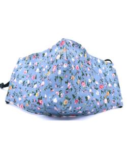 Textil szájmaszk felnőtt kék virágos