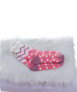 Rózsaszín-fehér,pöttyös,bélelt,csúszásgátlós női szobazokni