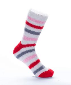 Rózsaszín-szürke-piros csíkos pihe-puha női zokni