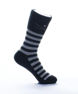 Fekete cicás női pamut zokni