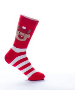 Piros  csíkos rénszarvasos női pamut zokni
