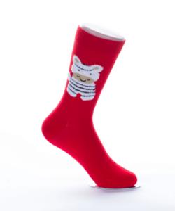 Piros cicás női pamut zokni