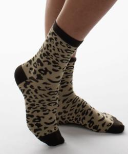 Női pamut zokni keki párduc mintás