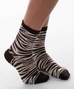 Női pamut zokni bézs zebra csíkos