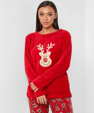 Női téli pizsama pihe-puha wellsoft Karácsony mintás