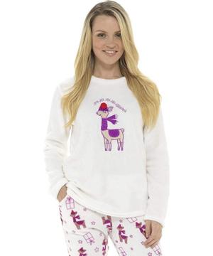 Női vastag pizsama pihe-puha wellsoft láma mintás