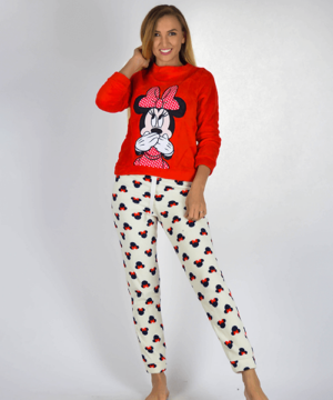 Minnie pihe-puha női wellsoft pizsama piros
