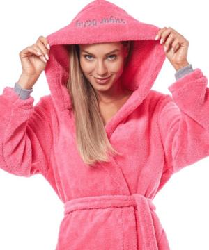 Pihe puha wellsoft köntös női pink hímzett