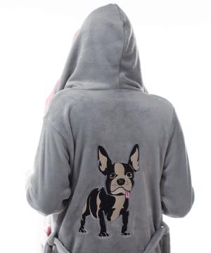 Francia bulldog pihe puha wellsoft női köntös szürke