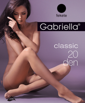 Gabriella egyszínű fekete harisnya Classic 20Den