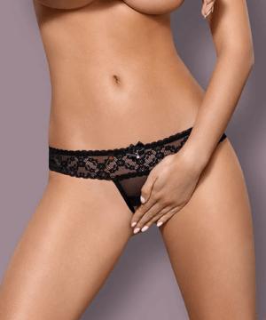 Obsessive szexi fekete alul nyitott csipke tanga