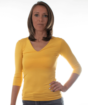 Kikiriki v-nyakú basic női felső mélysárga