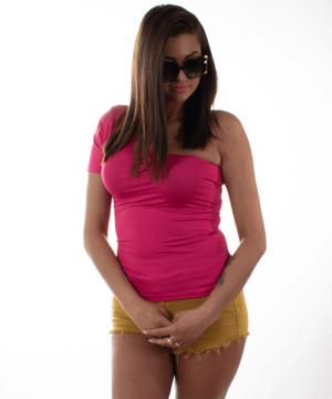 Kikiriki félvállas női felső fukszia