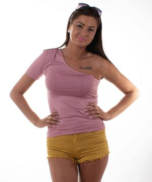 Kikiriki félvállas női felső mályva