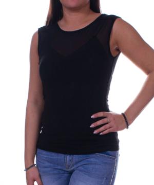 Kikiriki fekete tüllbetétes női felső