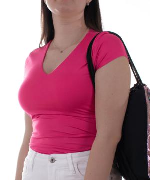 Kikiriki fukszia v-nyakú basic női felső