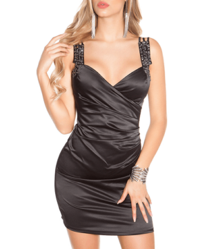 Szatén alkalmi ruha fekete
