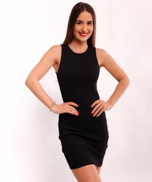 Victoria Moda bordázott miniruha fekete