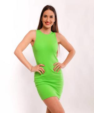 Victoria Moda bordázott miniruha zöld