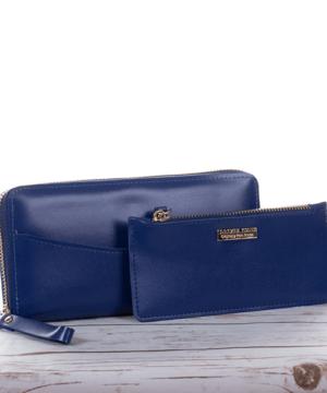 Kék női pénztárca kártyatartóval