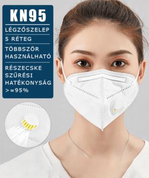 FFP2 KN95 légzőszelepes arcmaszk 5 rétegű