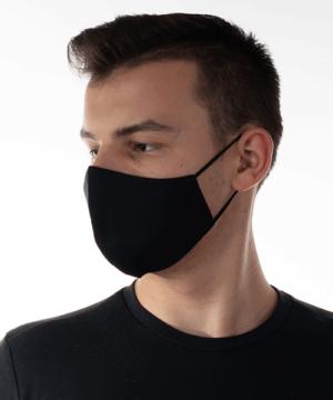 Textil szájmaszk felnőtt fekete cserélhető FFP2 szűrős