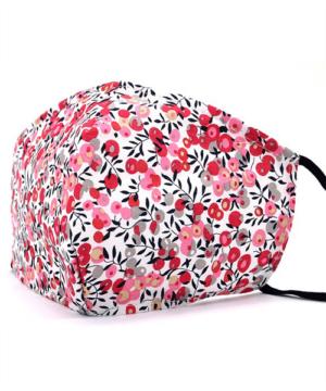 Textil szájmaszk felnőtt pink virágos cserélhető FFP2 szűrős