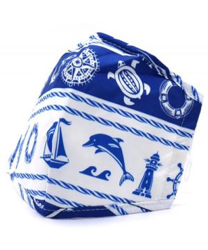 Textil szájmaszk felnőtt kék hajós cserélhető FFP2 szűrős