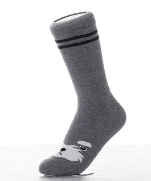 Női pamut zokni szürke kutyusos