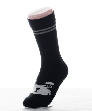 Női pamut zokni fekete kutyusos