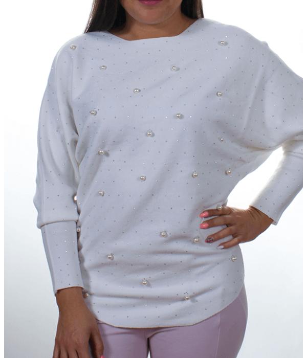 Fehér gyöngyös denevérujjú kötött női felső - Női pulóver 08b5beb636