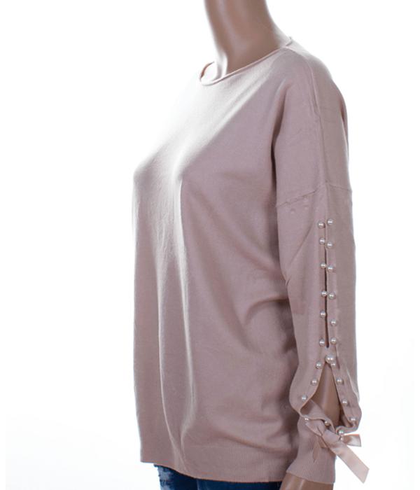 Púder gyöngyös ujjú finomkötött női pulóver - Női felső ba7f1973b8